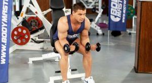 Сгибание запястий на скамье с гантелями ладонями вверх: работающие мышцы и техника выполнения
