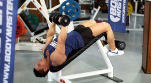 Жим с гантелями лежа на наклонной скамье: работающие мышцы и техника выполнения